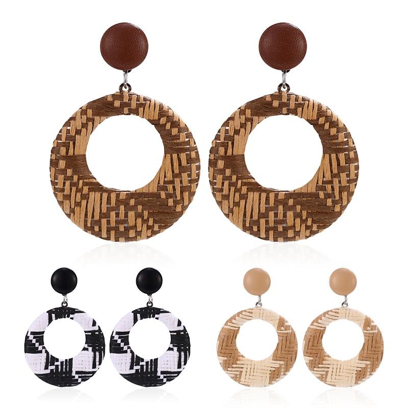 Bohopan-New-Geometric-Rattan-Weave-Drop-Earring-For-Women-Vintage-Round-Square-Hollow-Wooden-Dangle-Earrings