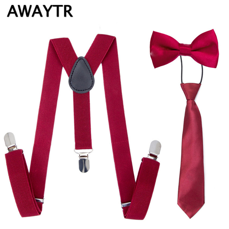 3PCS/Set AWAYTR 2018 Wine Red Color Suspenders Kids Bow Ties Suspenders For Children School Wedding Braces Neckties
