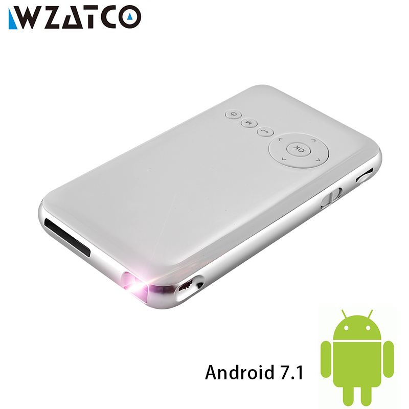 WZATCO M6 Android 7.1.2 5000mAh Battery Handheld Mini LED Projector WiFi Bluetooth DLP 1080P Beamer Support AirPlay Miracast AC3 rigal rd606 mini led dlp projector hd portable wifi multi screen pocket pico projector miracast airplay battery active 3d beamer