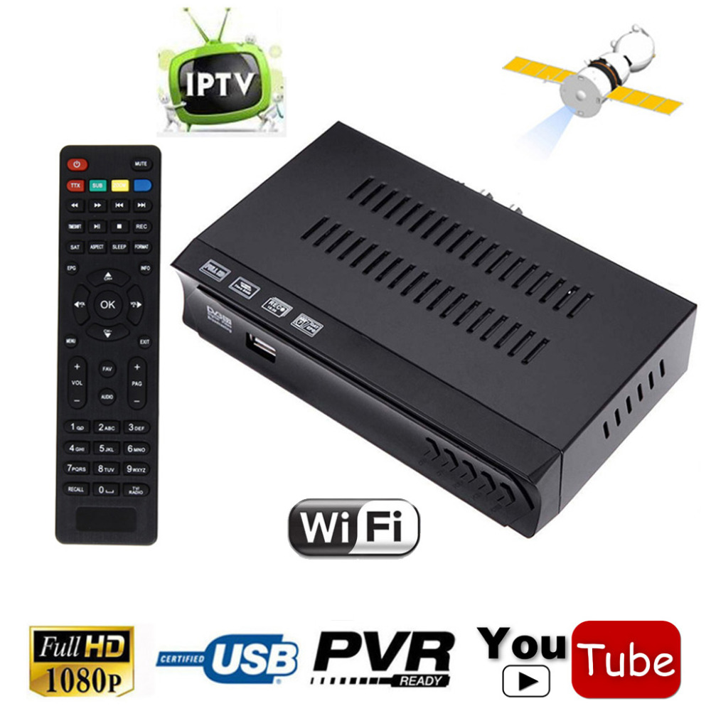 DVB S2 HD SD Digital Satellite IPTV Combo Receiver TV Tuner Support Youtube Wifi m3u IKS