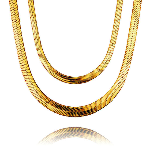 NYUK New Fashion Style 29 Inch Snake Chains Gold And Silvery Plated Chain Necklace For Bar Club Male/Female Hip Hop Jewelry Gift