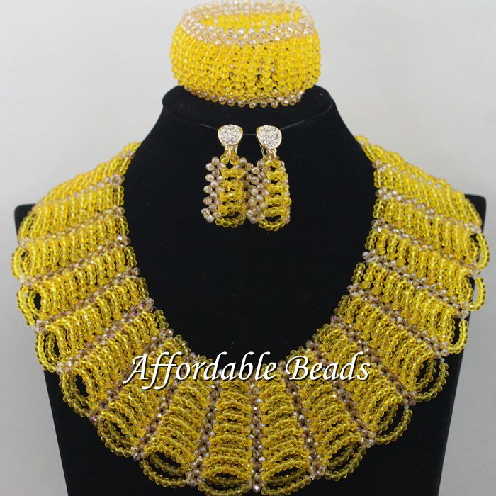 Gold Gray African Costume Jewelry Set Pretty Wedding Beads Set Handmade Item Wholesale Free Shipping NCD036 - 4