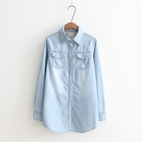 Spring And Autumn New Plus Size Women Clothes Long Sleeves Blouse Vintage Denim Shirt Casual Blue