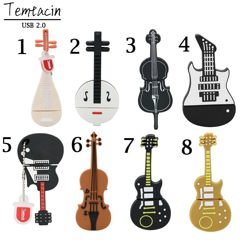 New Pen Drive 8GB 16GB 32GB 64GB USB Flash Drive Cute Cartoon Instruments Guitar Violin Model USB 2.0 Memory Flash Stick Gifts