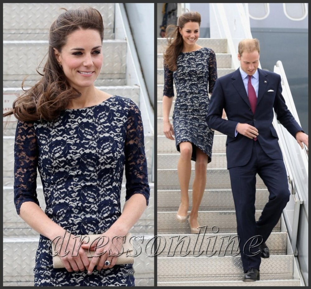 Princess Kate Middletom Lace Dark Navy Blue Dress At