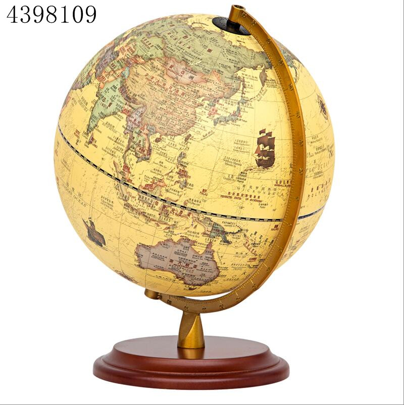 1pcs rotary archaistic globe desktop decoration high definition world map model school education tool family office