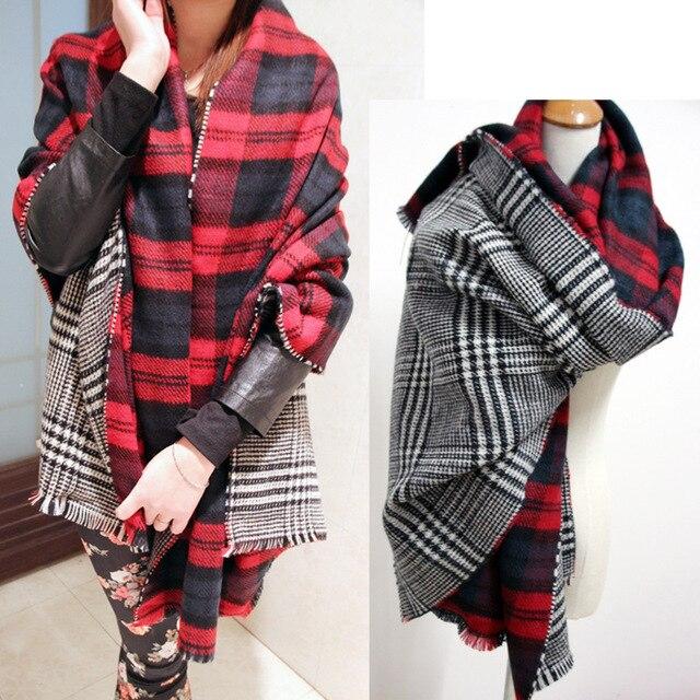 Za 2015 de doble cara de la tela escocesa suave doble capa bufanda de invierno de pata de gallo moben capa a cuadros regalo 55 * 200 CM
