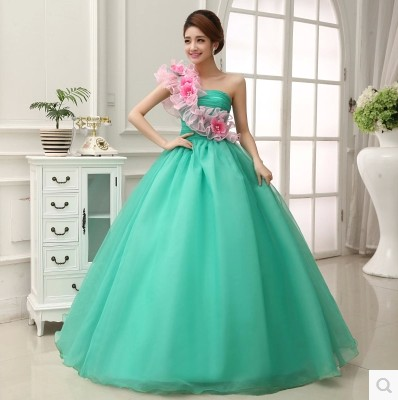 Quinceanera Gowns Vestidos De 15 Anos Debutante Masquerade One Shoulder Ball Gown Light Green Quinceanera Dress Kjole