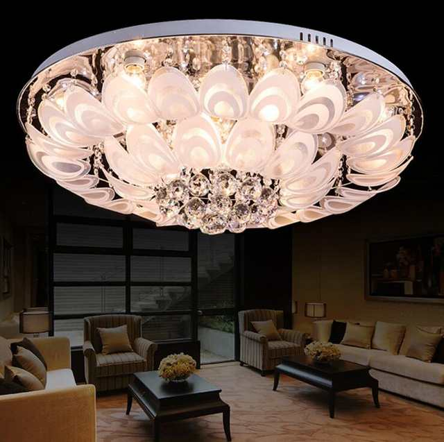 Lampe de cristal LED moderne lampe de salon plafonnier paon écran ...