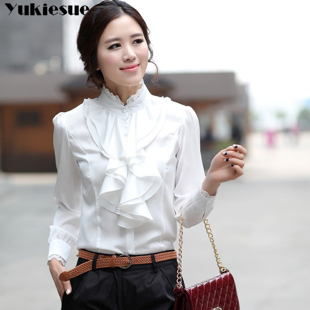 2019 summer women's shirt blouse for women blusas ruffles offical womens tops and blouses chiffon shirts woman top plus size 3