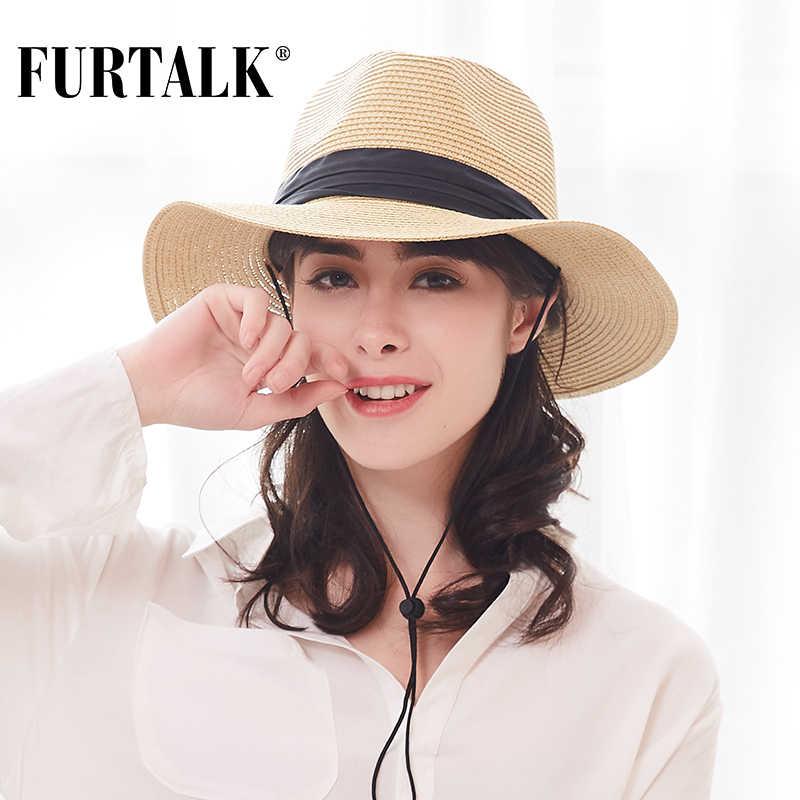 c14a4e8f961ea6 FURTALK Summer Hat for Women Straw Hats Wide Brim Fedora Sun Beach Jazz Hat