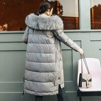 YOLANFAIRY Geniune кожа куртка Для женщин кожа овчины вниз пальто с настоящим енота меховой воротник зима теплая Толстая Верхняя одежда MF422
