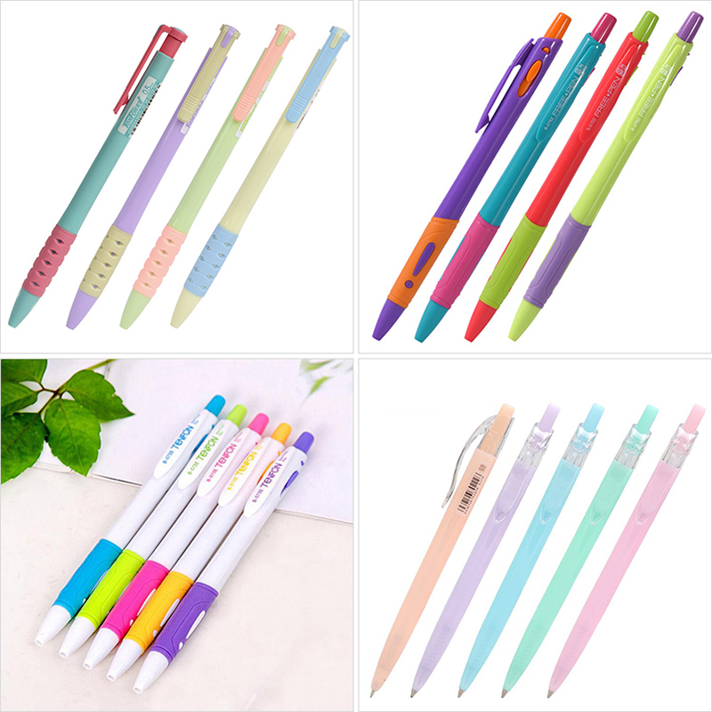 Cute Candy Color Ballpoint Pens Brand Quality Press Ball Pens For Writing Office School Supplies Stationery Promotional Items