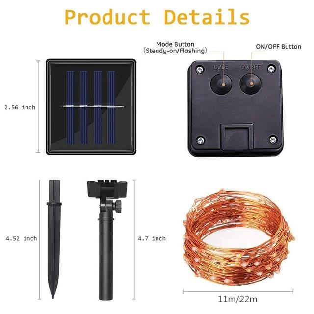 11m & 21m LED Outdoor Solar Lamps 100/200 LEDS String Lights 2