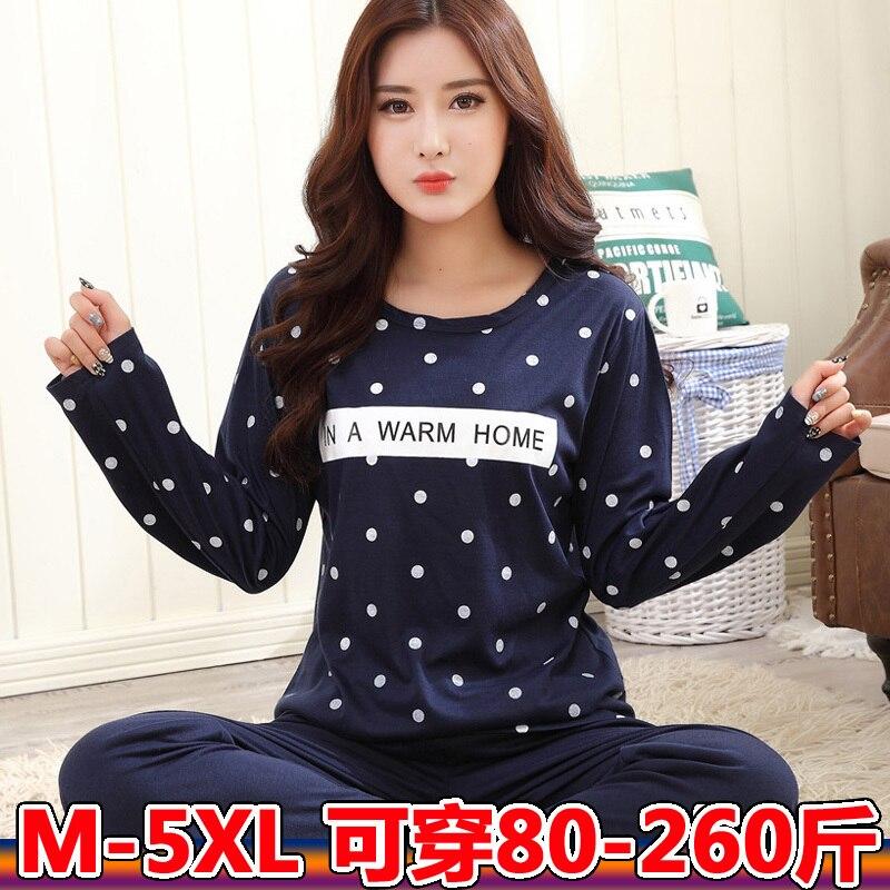 Women Plus Size M-5XL Pajama Set Cotton Autumn Winter Long Sleeve Cartoon Monkey Animal Sleepwear Pyjamas Nightwear Home Clothes 63