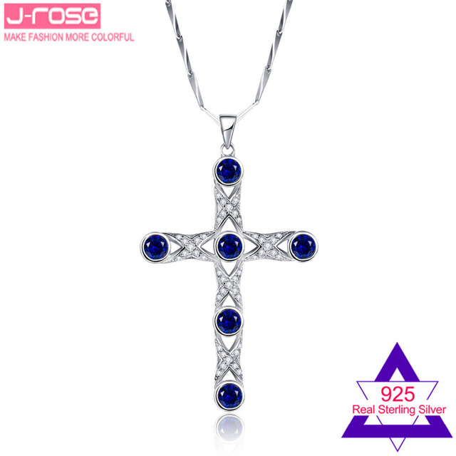 Jrose 7.2CT Created Sapphire Solid 925 Sterling Silver Cross Wedding Pendant Gift with Box Fashion Jewelry Without Chain