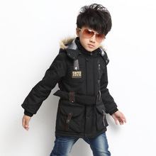Free shipping Winter boy new outfits hooded fur hat cotton quilted jacket