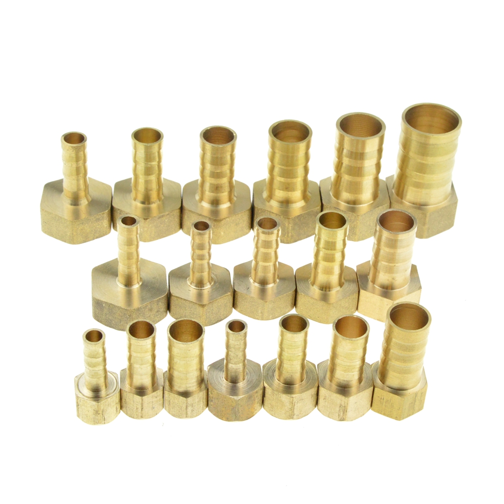 Brass Hose Fitting 4mm 6mm 8mm 10mm 19mm Barb Tail 1/8 1/4 1/2 3/8 BSP Female Thread Cop ...