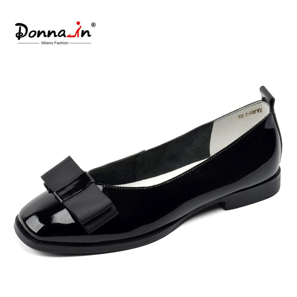 Donna-en Marque Ballerine Femme En Cuir Véritable Chaussures Plates Glissent sur Faible Talons Casual Chaussures Femme Mocassins Chaussures Chaussures dames