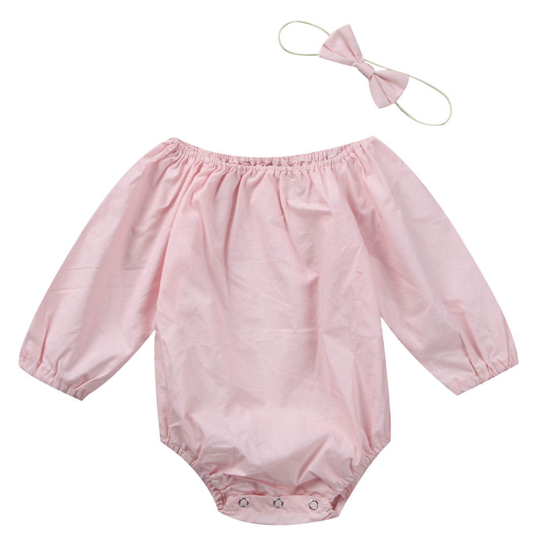 Toddler Baby Girls Long Sleeve Romper Jumpsuit Headband Outfits Clothes Autumn baby set