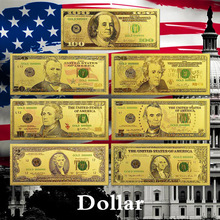 Real Gold Banknote Set USD 100/50/20/10/5 Notes Collection .999 Pure Bill 24K Plated For Home Decor