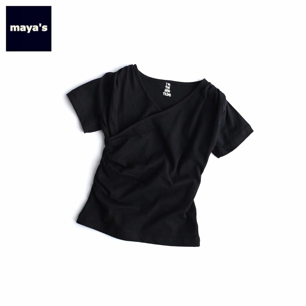 Kids Shirts Toddler Short-Sleeves Children Tops Solid-Color Black Summer V-Neck Cotton