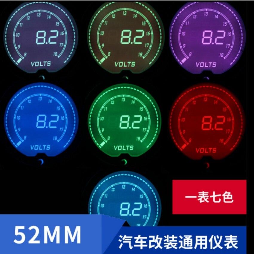 Jauge de voiture volt + temp de l'eau + temp d'huile + Boost + pression d'huile + tr/min peut changer de couleur 52 MM style très cool