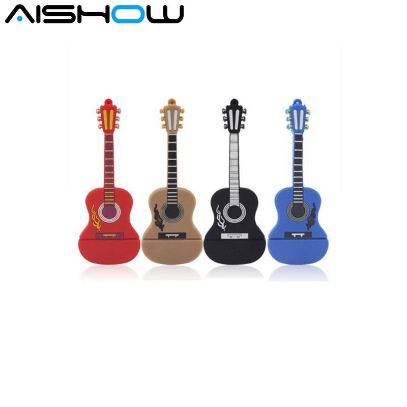 2016 New Pen Drive 8GB 16GB 64GB USB Flash Drive Cute Cartoon Instruments Guitar violin Model usb 2.0 Memory Flash Stick Gifts