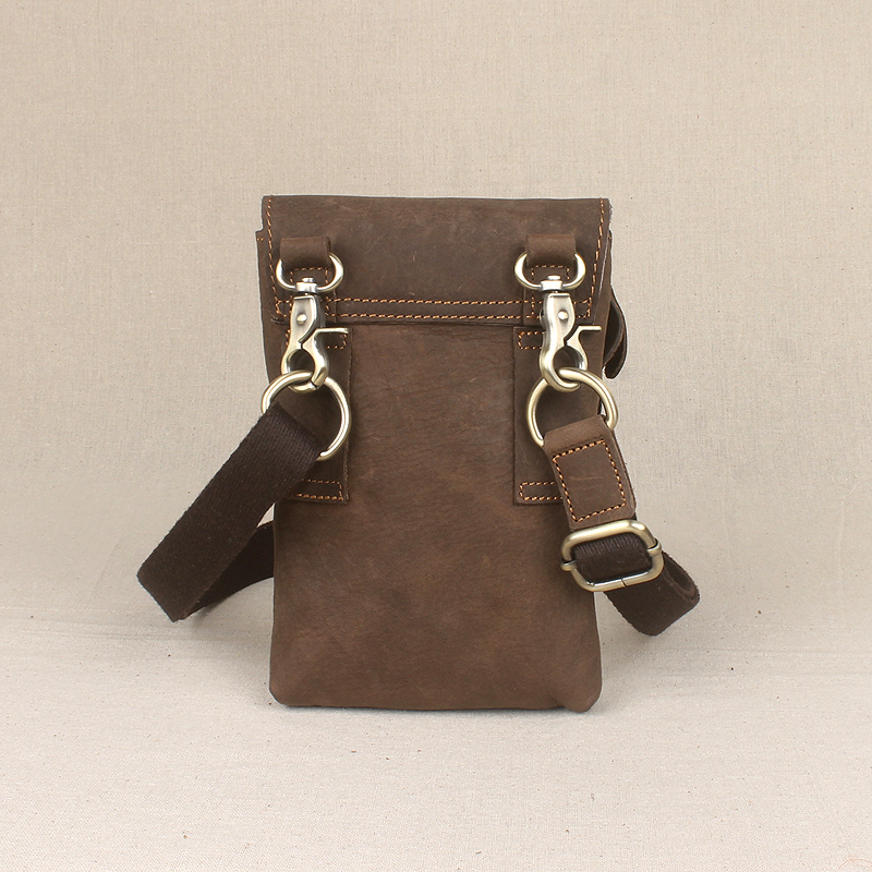 516fb31cab 100% genuine leather men mini messenger bag crazy horse leather men casual  single shoulder bag fashion cell phone bag waist bags-in Crossbody Bags  from ...