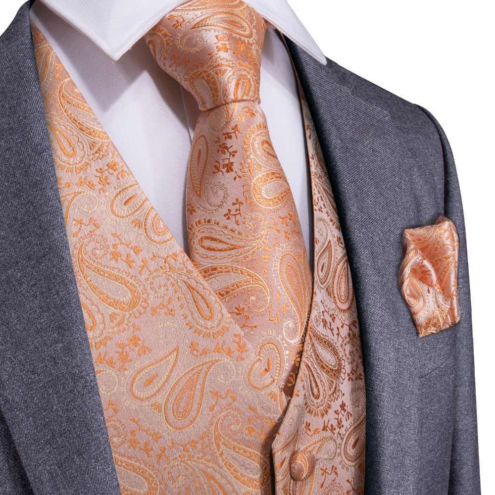 DiBanGu البرتقال بيزلي أزياء الزفاف الرجال 100% الحرير صدرية سترة العلاقات المنديل أزرار أكمام ربطة عنق مجموعة ل دعوى سهرة MJTZ-108