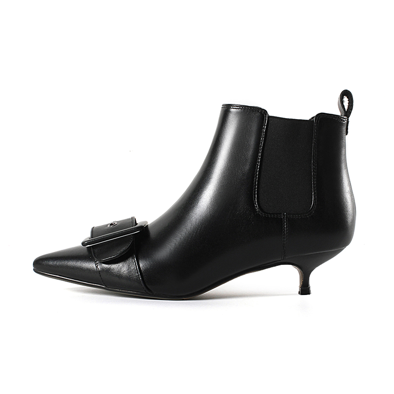 Moda Toe negro Fino Cuero 43 Genuino De Beige Grande Hebilla Nueva Punta Talones Mujer Tamaño 33 Med 2018 Tobillo Botas Smirnova Otoño WwYSUq1x
