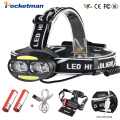Koplamp 30000 Lumen koplamp 4 * T6 + 2 * COB + 2 * Rode LED Head Lamp Zaklamp Fakkel lanterna met batterijen oplader