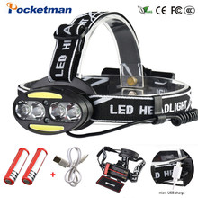 Pocketman Headlight Powerful USB Headlamp 4* T6 +2*COB+2*Red LED Head Lamp Head Flashlight Torch Lanterna with batteries charger(China)