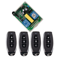 AC 220V RF 2CH Wireless Remote Control Switch 1 Receiver 2 Transmitter For Tubular Motor Garage
