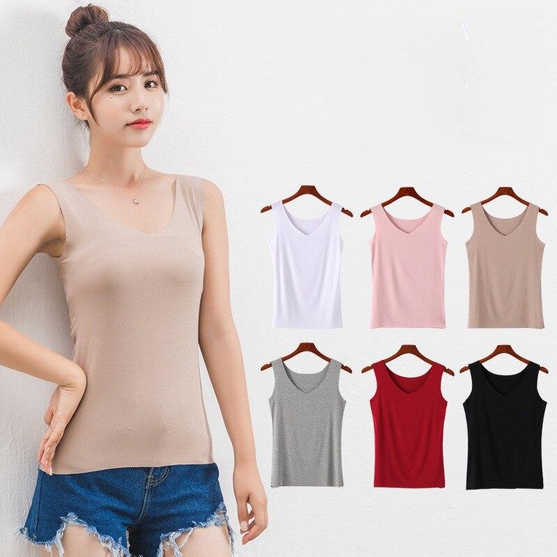 Slim Women   Tank     Tops   Casual Thin V Neck Women T-Shirt Sleeveless Sleamless Vest