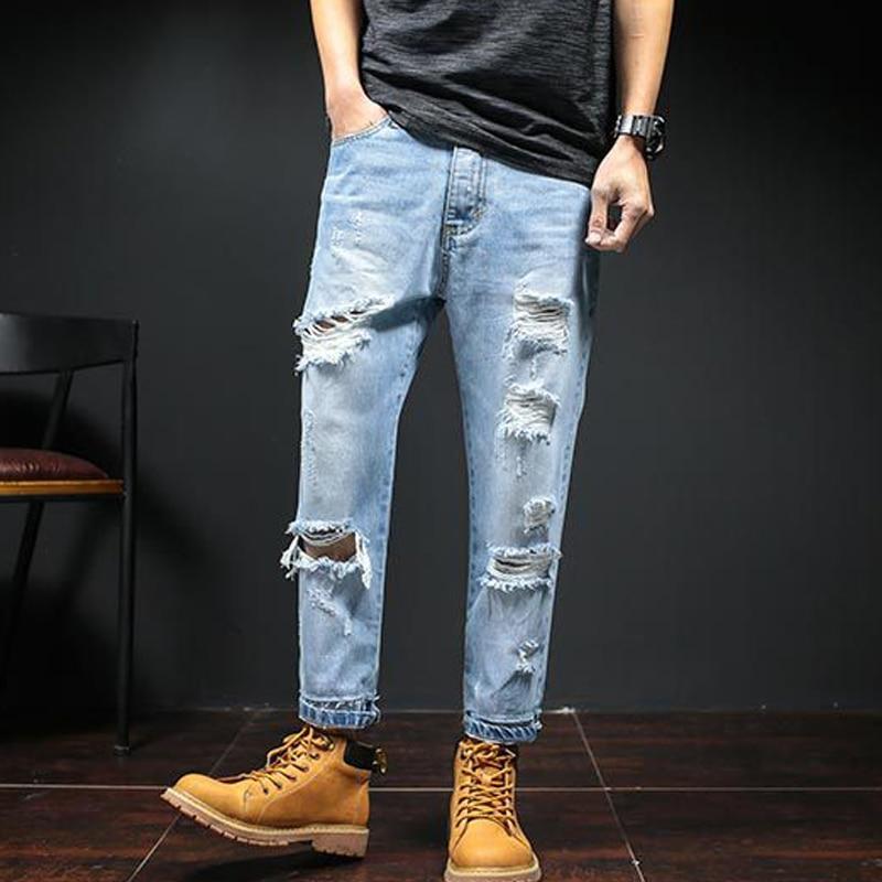2017 Hip-Hop Men Jeans Masculina Casual Denim Distressed Men's Slim Jeans Brand Biker Jeans Skinny Rock Ripped Jeans Homme hip hop men jeans masculina casual denim distressed mens slim fit jeans pants brand biker jeans straight rock ripped jeans homme