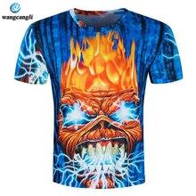wangcangli New design skull poker print Men summer short sleeve 3d tee t shirt homme men casual breathable plus-size t-shirt 3XL