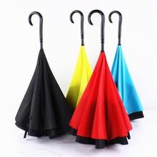 New J Handle Style Upside Down Opposite Folding Long Umbrella Single Layer Fashion Reverse Umbrella Sunny