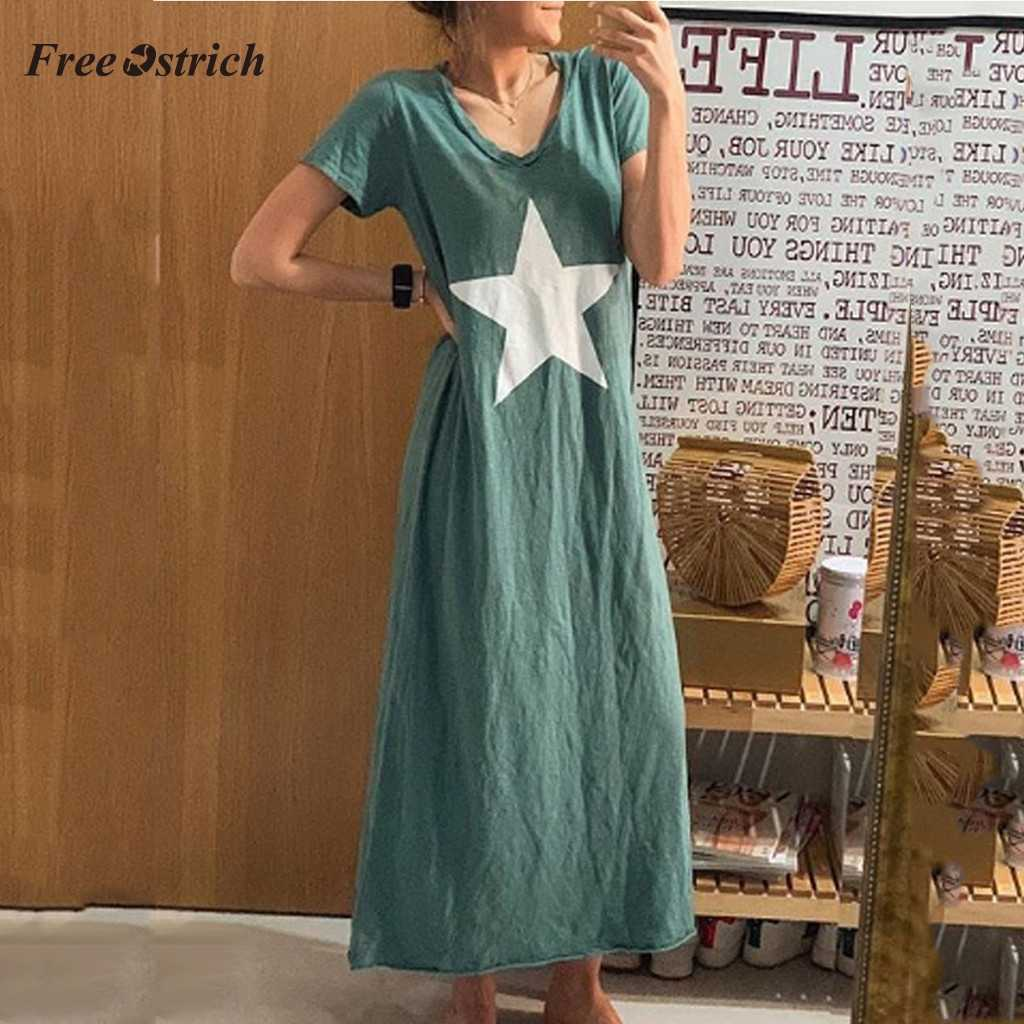 Free Ostrich Summer Dress Women Five-pointed Star Print Casual Loose long maxi Dress girl clothes V-Neck Short Sleeve vestidos 7