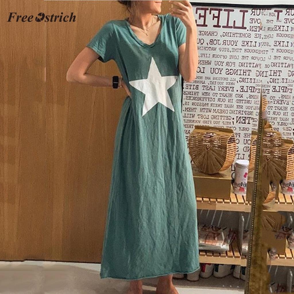 Womens Loose Long Sleeve Maxi Dresses Women Gradual Print O-Neck Floor Length Long Dress