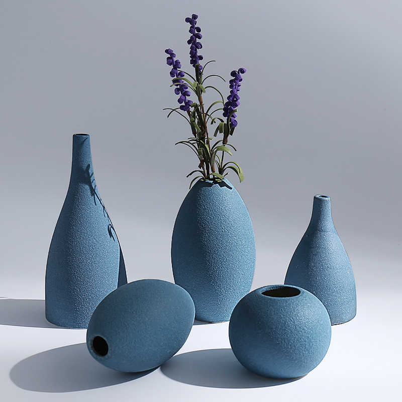Europe Small Vase Grind Glaze Ceramics Black Blue Grey Vases Flower Arts And Crafts Home Decoration Accessories Modern Vases Aliexpress