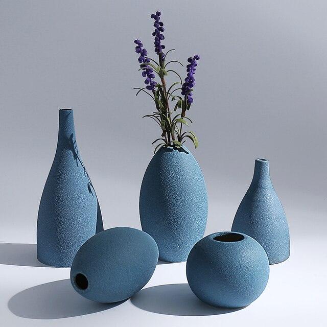 Europe Small Vase Grind Glaze Ceramics Black Blue Grey Vases Flower