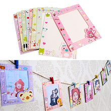 Newest 9 pcs/set 6 Inch Wall Hanging Cute Animal Paper Photo Frame for Pictures New(China)