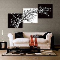 100%High Quality 3pcs Set Black White Tree Flower Oil Painting On Canvas Home Wall Art Decoration Modern For Living Room Picture