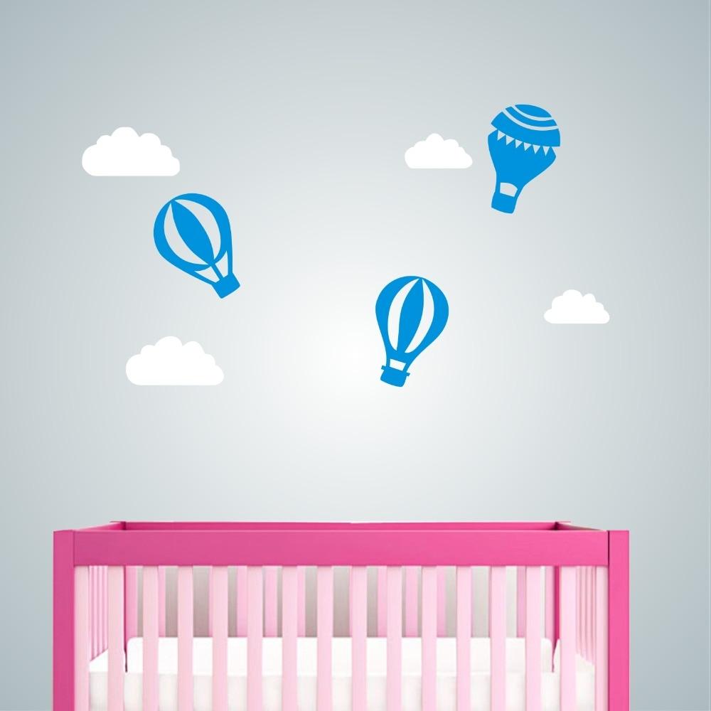 Wall Decal Vinyl Sticker Nursery Hot Air Balloon Clouds Decor For Children  Kids Boy Girls Home