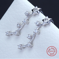 Flower Earrings For Fashion Girls Real 925 Sterling Silver Ear Cuff Clip Office Lady Style Top