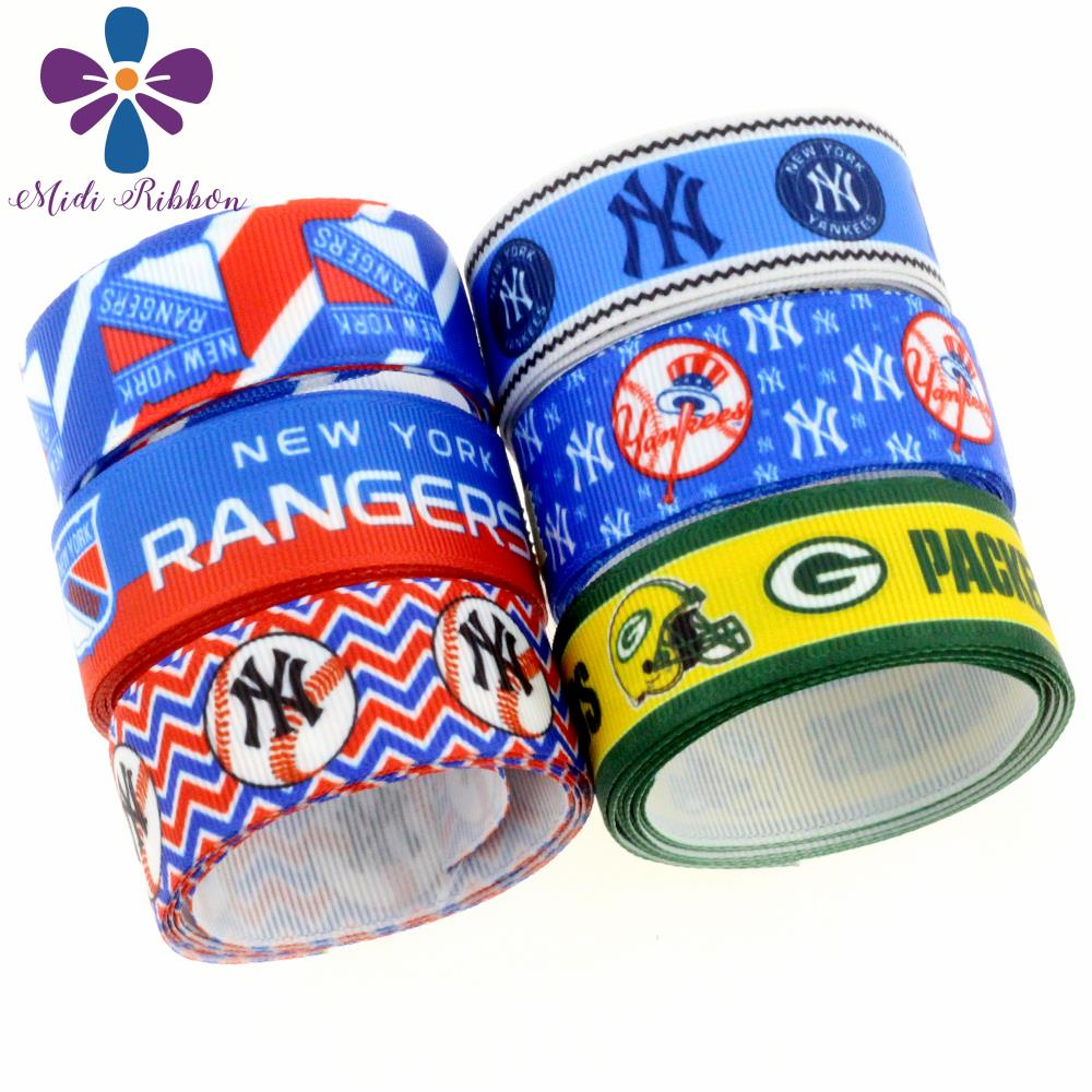 16mm-75mm Sports Team Series Wave Patterns Baseball Lover Printed Grosgrain/Elastic Ribbon DIY Party Decor 50yards/roll