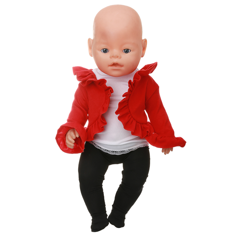 Doll Accessories Baby Born Doll Clothes Red Dance Costume Suit Fit 43cm Zapf Baby Born Doll Birthday Gift X-104 drop shipping