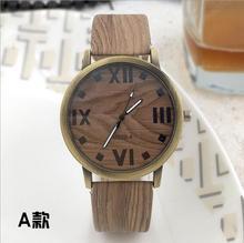 Szimuláció Fehér Reloje Quartz Férfi órák alkalmi fából készült színes bőr szalag Watch Fa Férfi karóra Relogio Masculino