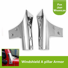 Auto Part Chrome Stainless Steel Windshield A Pillar Molding Trim Armor Guards for 2007-2017 Jeep Wrangler JK & Unlimited